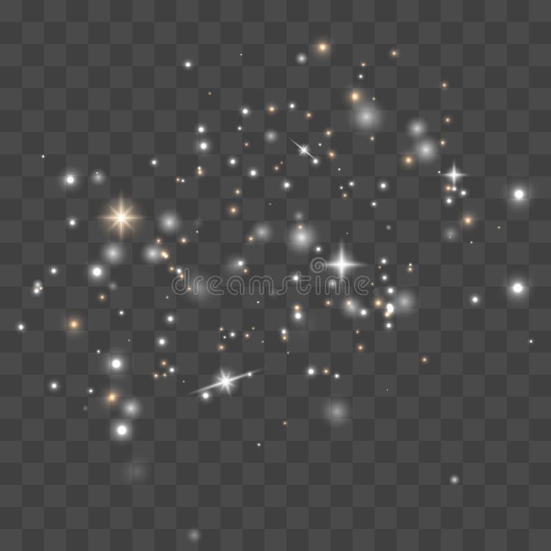 Dust sparks, golden stars royalty free illustration