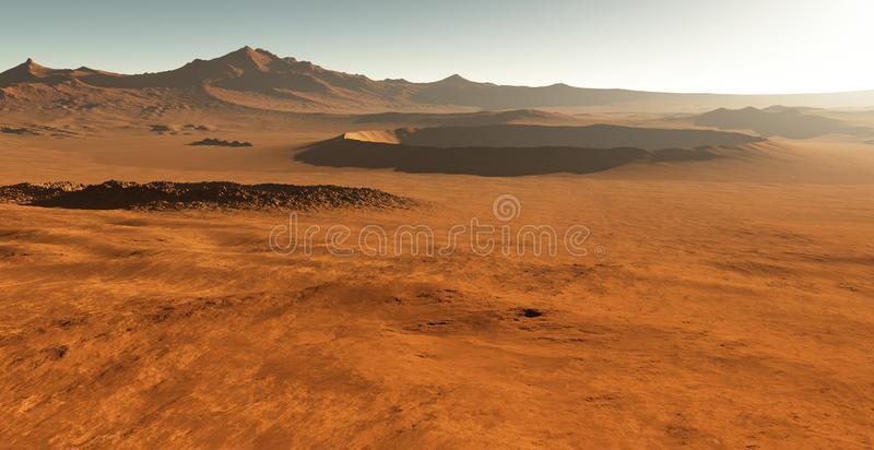 Dust storm on Mars. Sunset on Mars. stock illustration