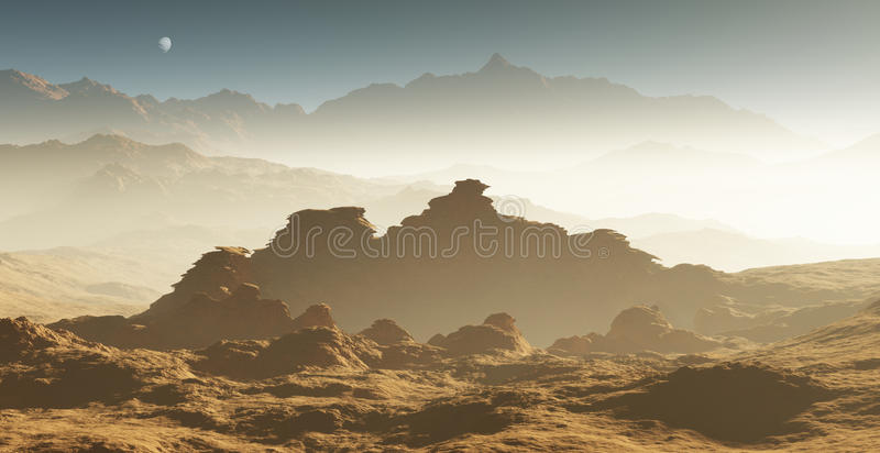 Dust storm on Mars royalty free illustration
