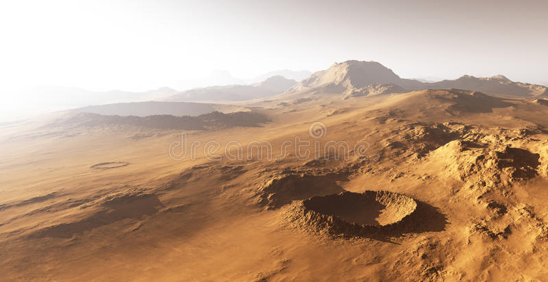 Dust storm on Mars. vector illustration