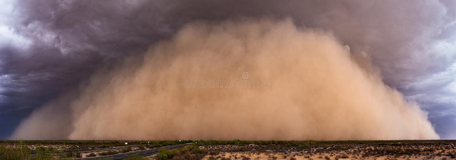 Dust storm panorama in the Arizona desert. stock photo