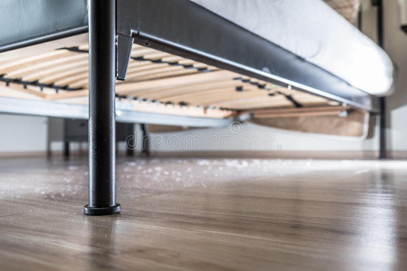 Dust on the wood floor under the bed. Dust and dirt dirt under the bed stock image