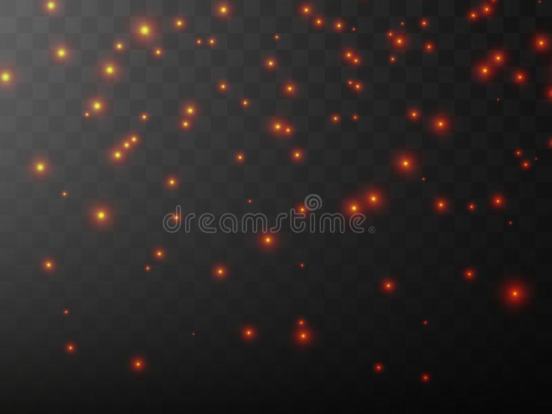 The dust is yellow. red sparks and stars shine with special light. Vector sparkles on a transparent background. Christmas light effect. Sparkling magical dust stock illustration