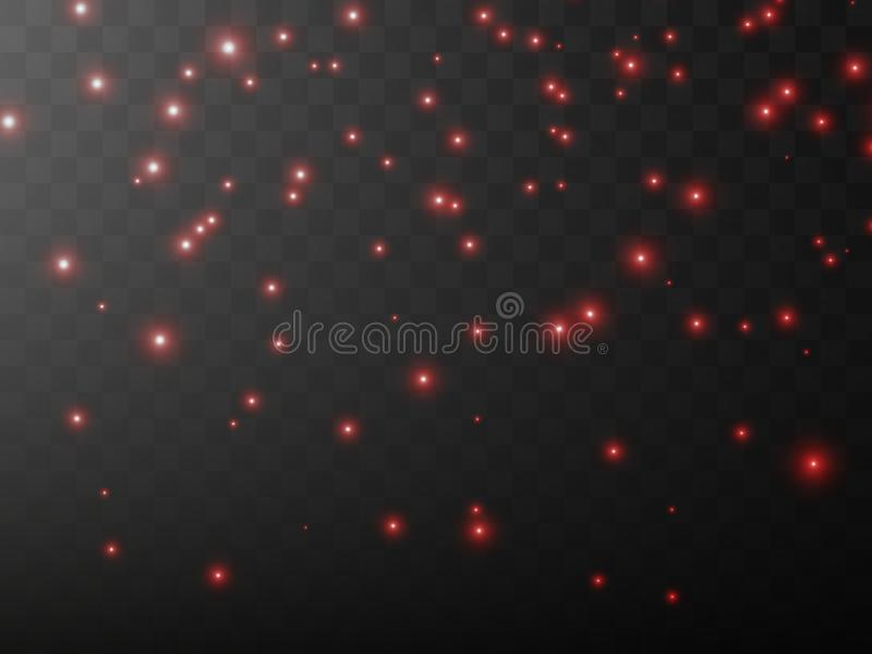 The dust is yellow. red sparks and stars shine with special light. Vector sparkles on a transparent background. Christmas light effect. Sparkling magical dust vector illustration