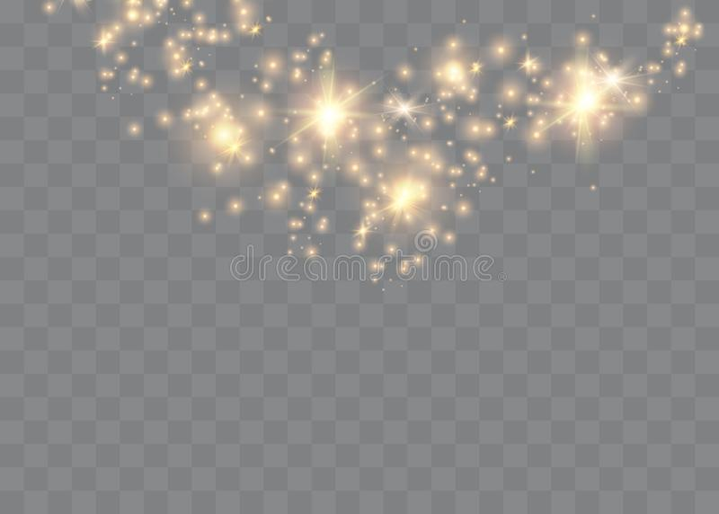 The dust is yellow. yellow sparks and golden stars shine with special light. Vector sparkles on a transparent background. Christma. S light effect. Sparkling vector illustration