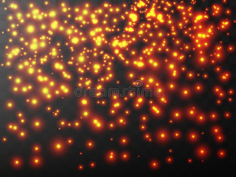 The dust is yellow. yellow sparks and golden stars shine with special light. Vector sparkles on a transparent background. Christmas light effect. Sparkling stock illustration