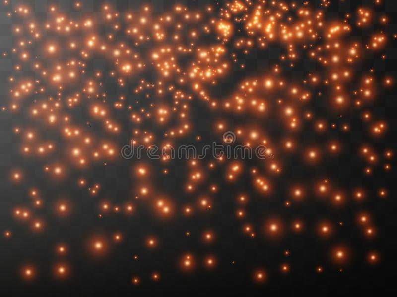 The dust is yellow. yellow sparks and golden stars shine with special light. Vector sparkles on a transparent background. Christmas light effect. Sparkling vector illustration