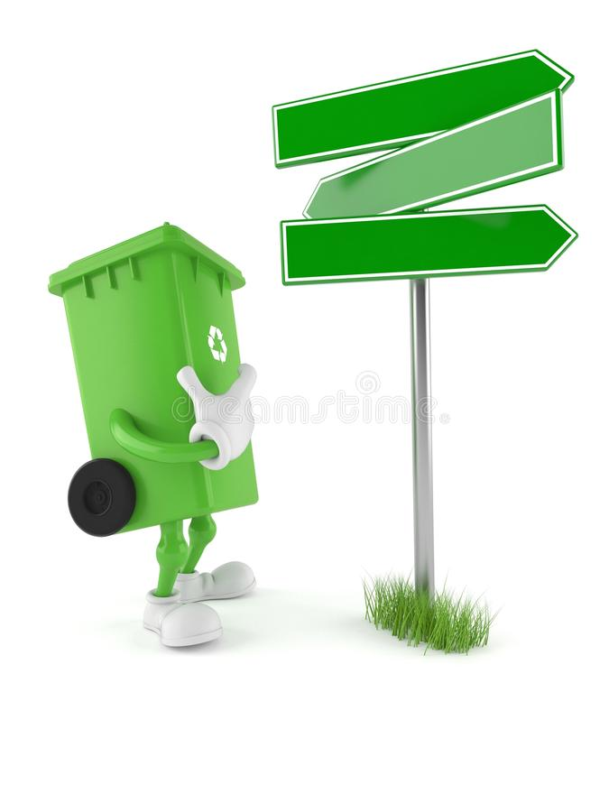 Dustbin character with blank signpost. Isolated on white background. 3d illustration royalty free illustration