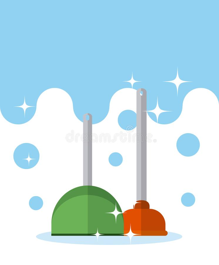 Dustpan и насос туалета иллюстрация вектора
