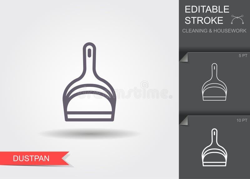 dustpan Линия значок с editable ходом с тенью бесплатная иллюстрация