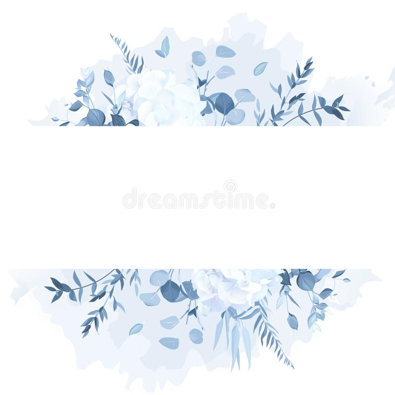 Free Dusty Blue Branches, White Hydrangea, Watercolor Splash Vector Design Frame Royalty Free Stock Image - 143403736