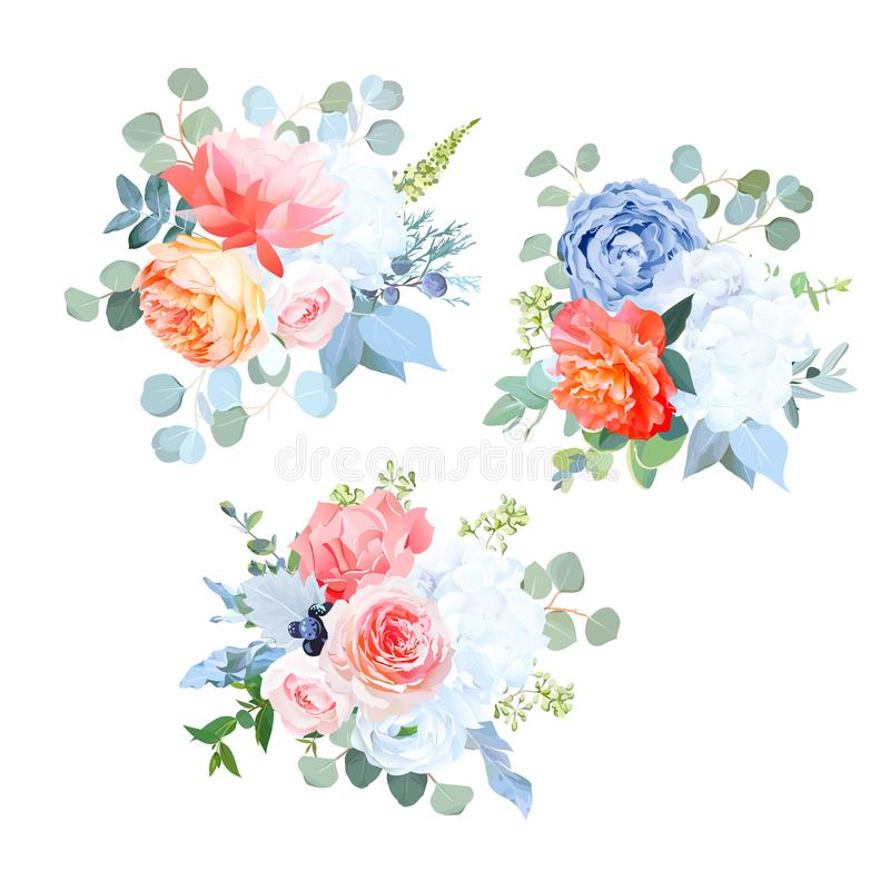 Dusty blue, orange, white, coral, pink flowers vector wedding bouquets stock illustration