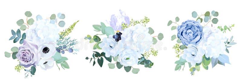 Dusty blue, pale purple rose, white hydrangea, ranunculus, iris,anemone flower royalty free illustration