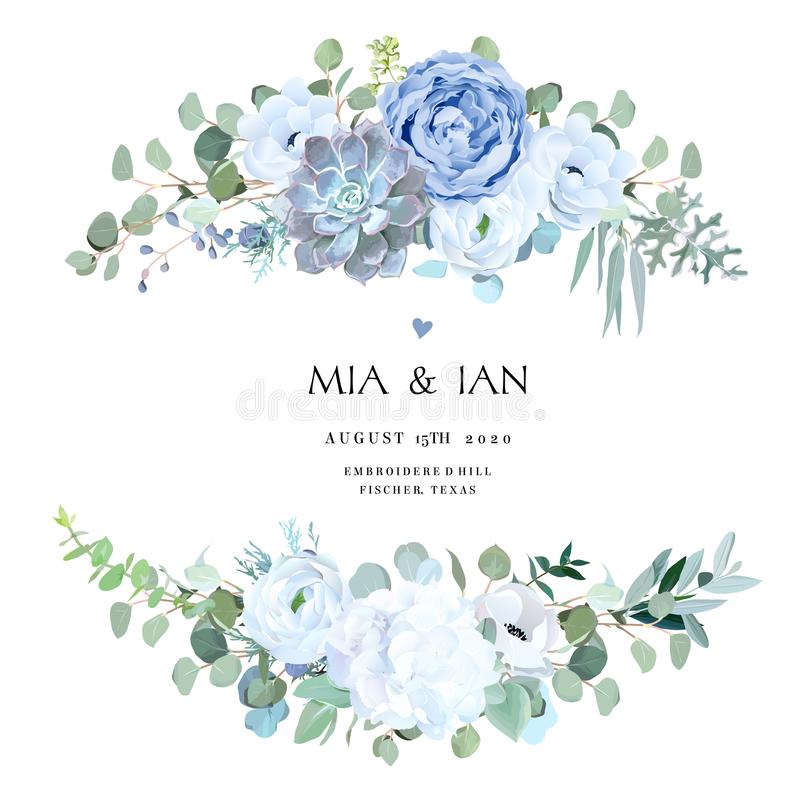 Free Dusty Blue Rose, Echeveria Succulent, White Hydrangea, Ranunculus, Anemone Stock Photo - 154322100