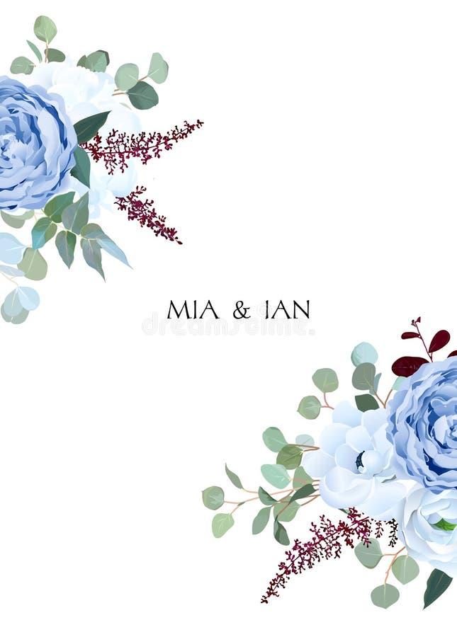 Free Dusty Blue Rose, White Hydrangea, Ranunculus, Anemone, Eucalyptu Stock Images - 135897604