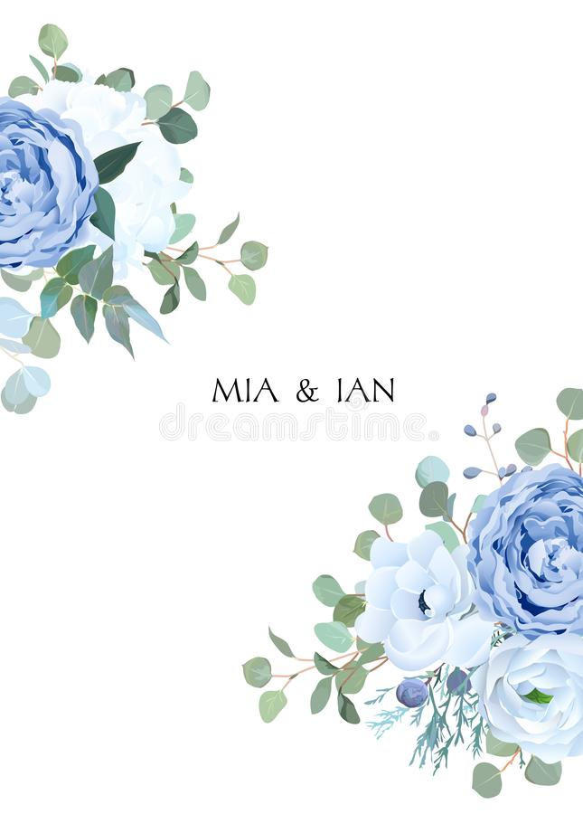 Free Dusty Blue Rose, White Hydrangea, Ranunculus, Anemone, Eucalyptus Stock Photo - 132396030