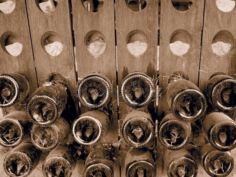 Dusty Bottles von Champagne stockbild