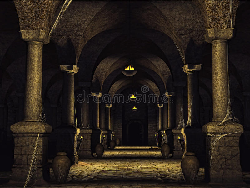 Dusty cellar with cobwebs royalty free illustration