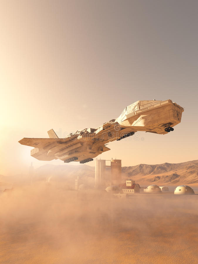 Dusty Landing at Mars Colonial Outpost Town royalty free illustration