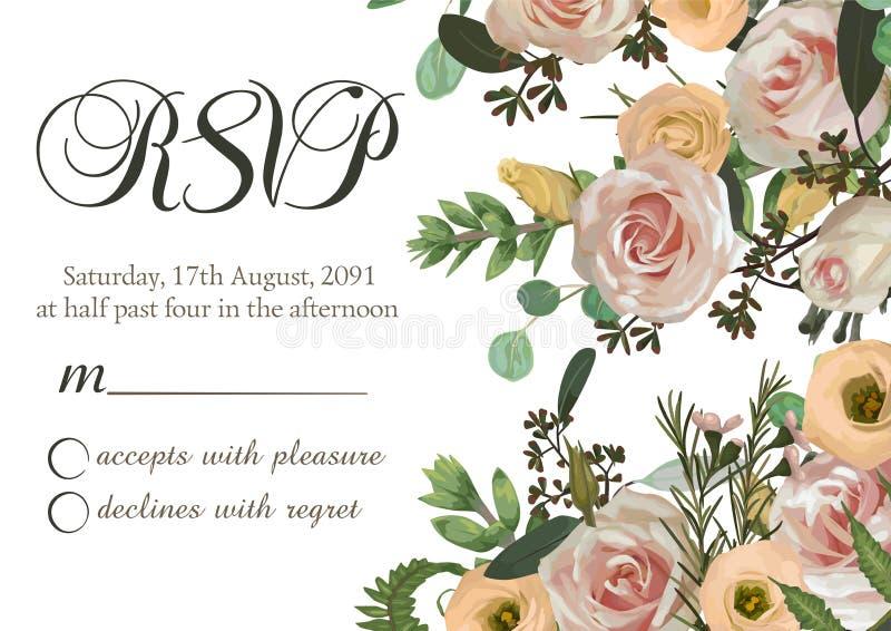 Dusty pink, creamy antique rose, pale flowers vector design wedding ravp frame. Flowers, eustoma, brunia, fern, eucalyptus,. Dusty pink, creamy antique rose vector illustration