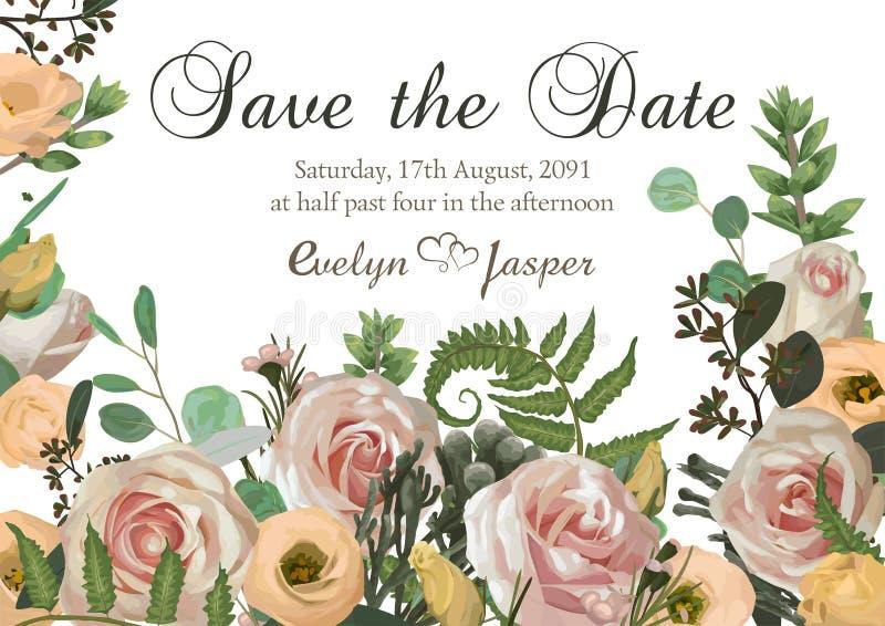 Dusty pink, creamy antique rose, pale flowers vector design wedding ravp frame. Flowers, eustoma, brunia, fern, eucalyptus,. Dusty pink, creamy white antique stock illustration