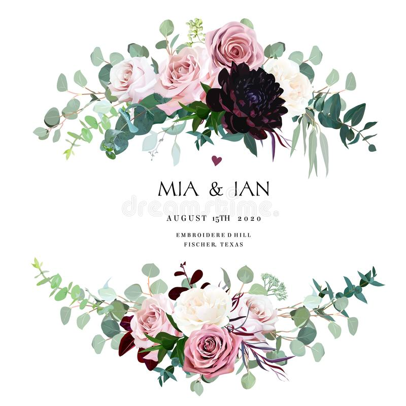 Dusty pink, creamy and mauve antique rose, pale flowers vector illustration