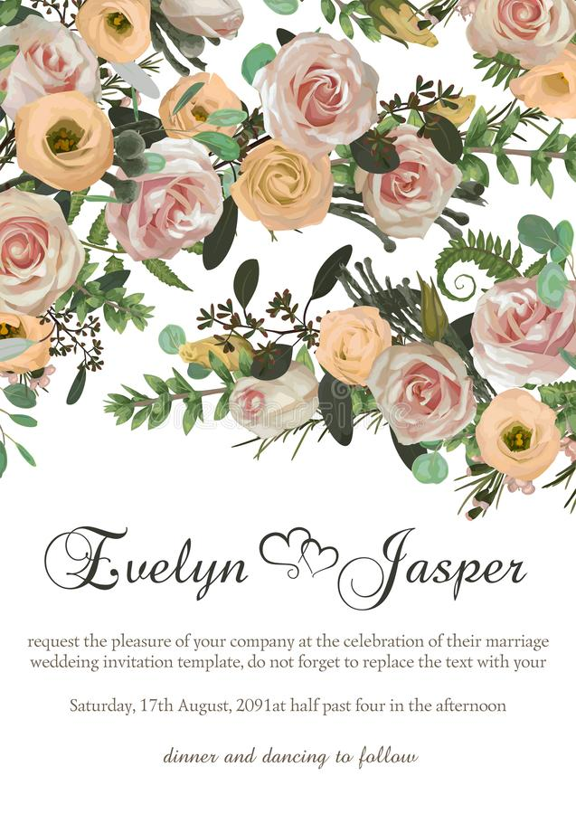 Dusty pink, creamy white antique rose, pale flowers vector design wedding frame. Flowers, eustoma, brunia, fern, eucalyptus,. Dusty pink, creamy white antique vector illustration