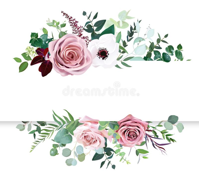 Free Dusty Pink Rose, Pale Flowers, White Anemone Horizontal Botanical Vector Design Banner Royalty Free Stock Photography - 153079827