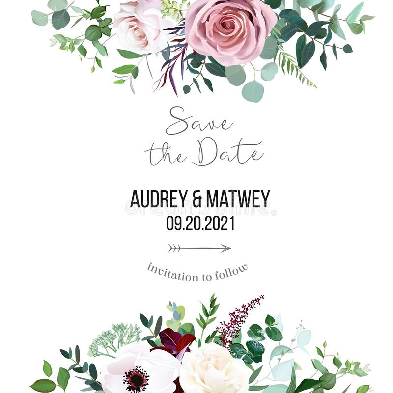 Free Dusty Pink Rose, Pale Flowers, White Anemone Horizontal Botanical Vector Design Banner Royalty Free Stock Images - 163967909