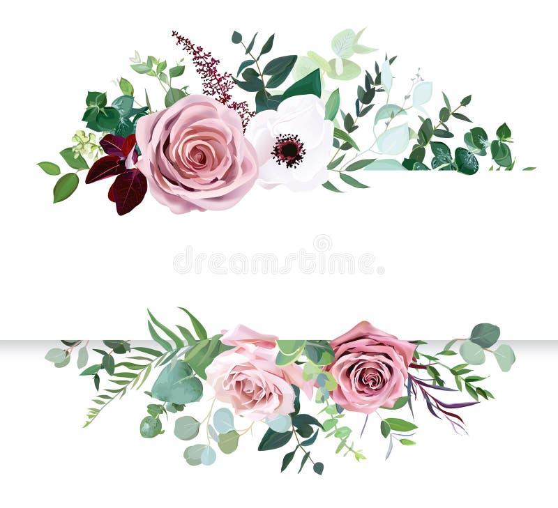 Dusty pink rose, pale flowers, white anemone horizontal botanical vector design banner royalty free illustration