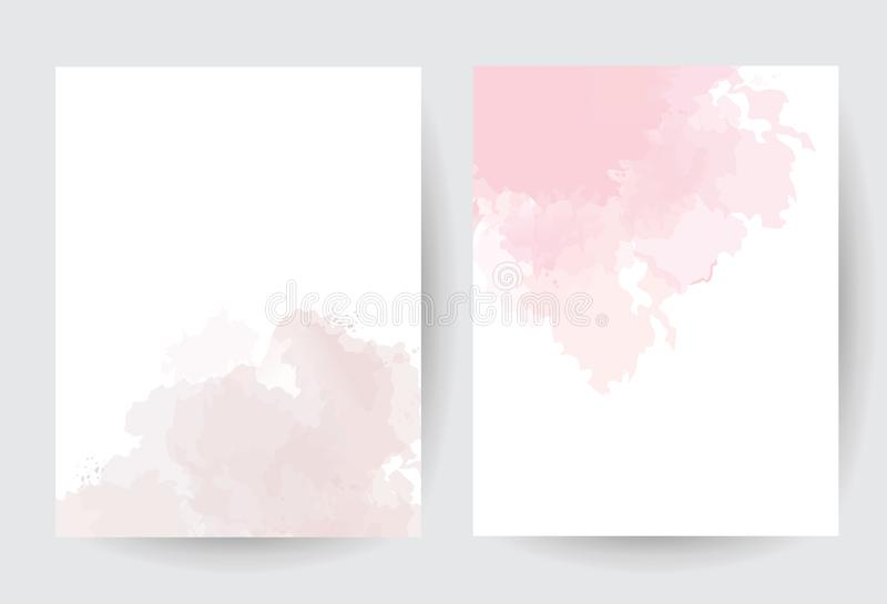 Dusty pink and taupe watercolor vector splash cards. royalty free illustration