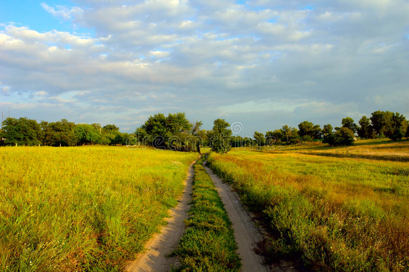 Dusty road through a green field royalty free stock photography