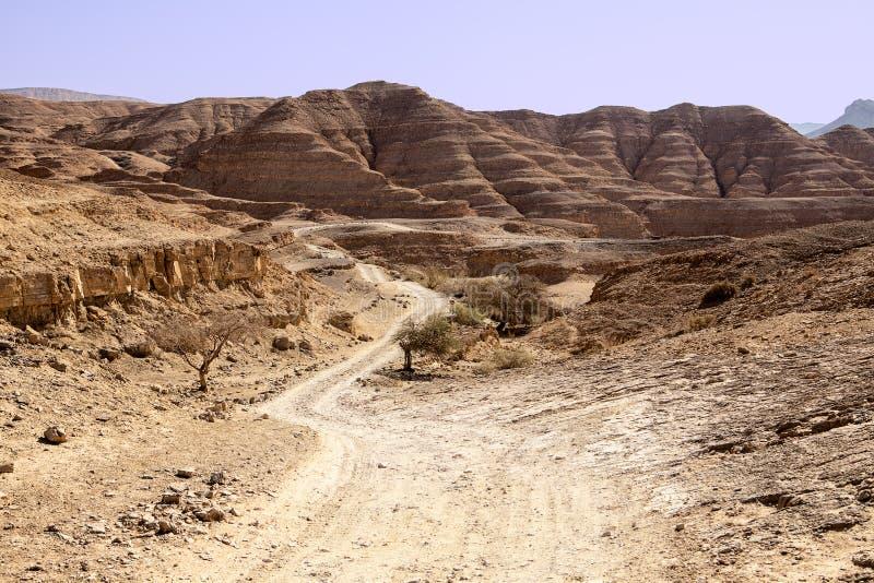 Dusty Road In The Negev-Woestijn royalty-vrije stock afbeeldingen