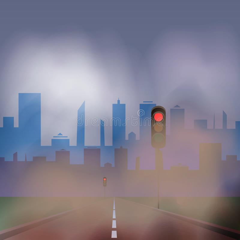 Dusty road to the city with traffic lights. 10 eps royalty free illustration