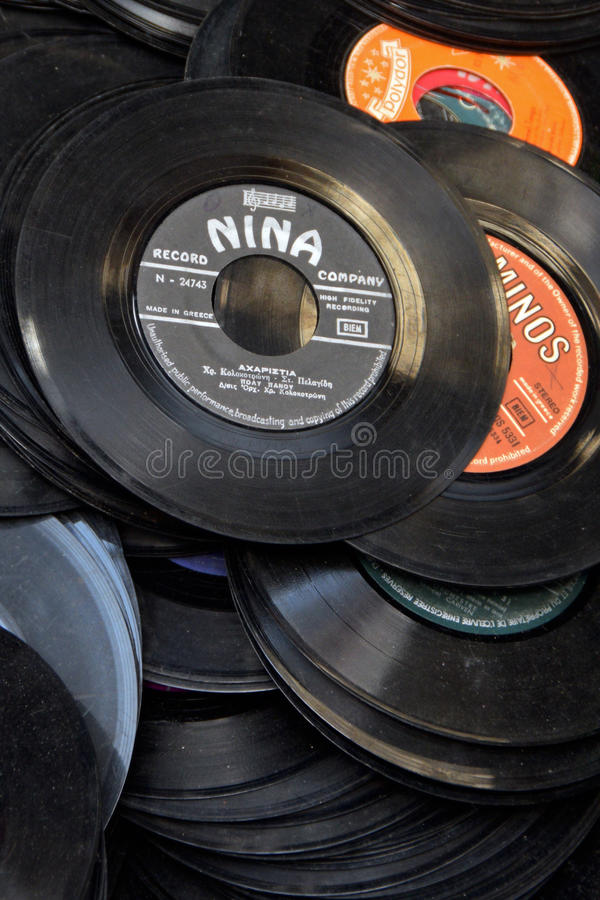 Dusty vinyl records stock photo