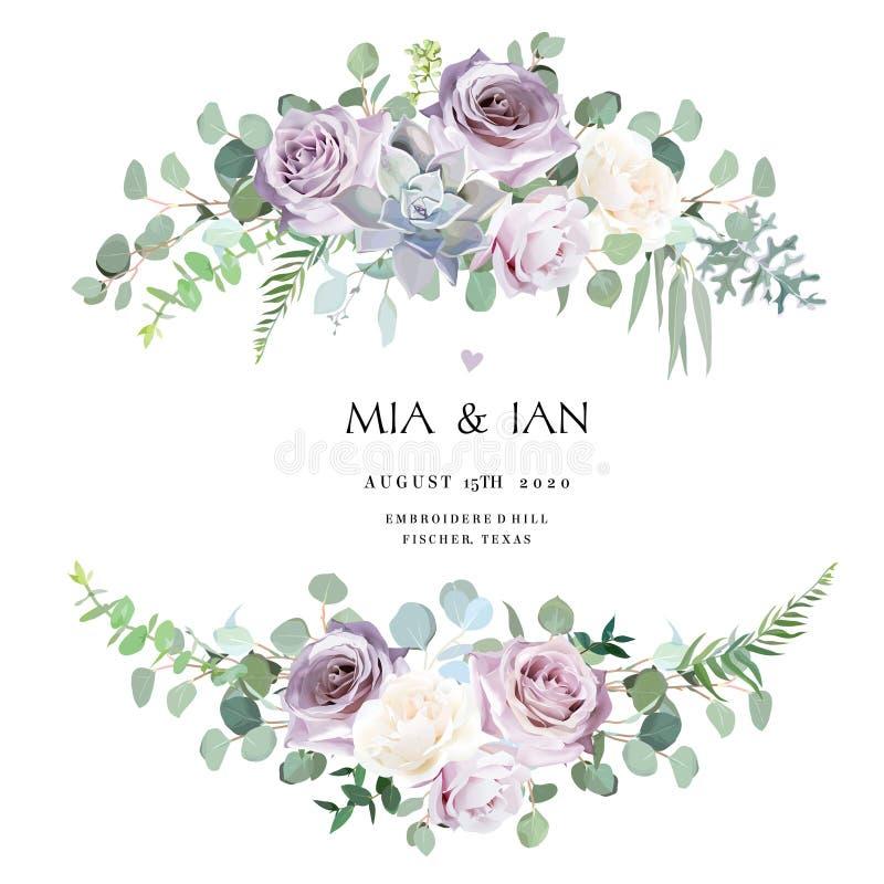 Dusty violet lavender,creamy and mauve antique rose, purple pale flowers royalty free illustration