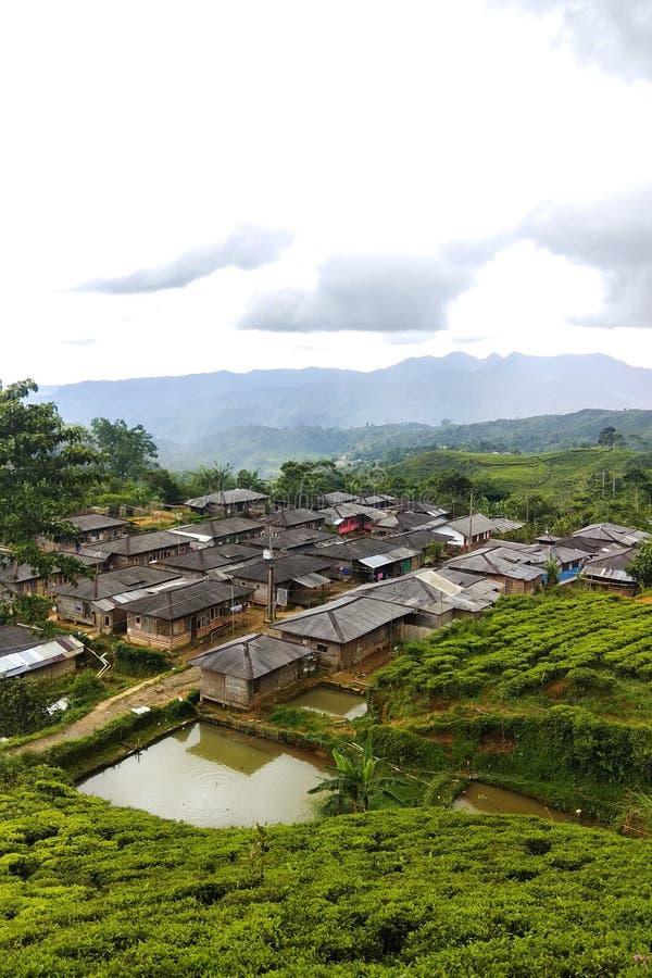 Dusun Tokio Pueblo de montaña ocultado aislado en Malasari, Bogor Indonesia Entre el bosque y la plantación de té foto de archivo libre de regalías