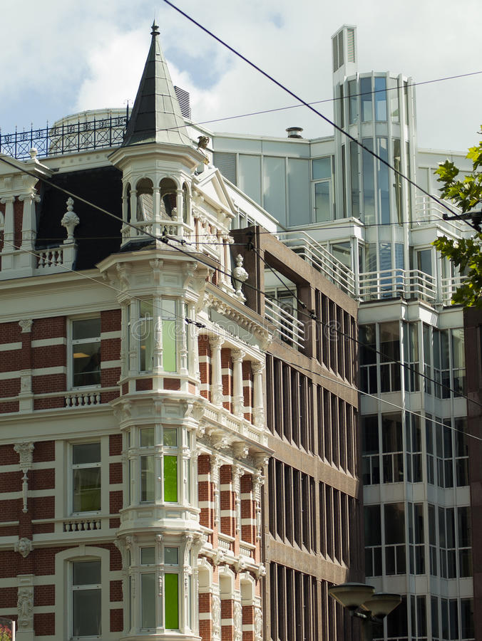 Dutch Baroque Architecture and Modern Buildings in Amsterdam. The Netherlands stock photo