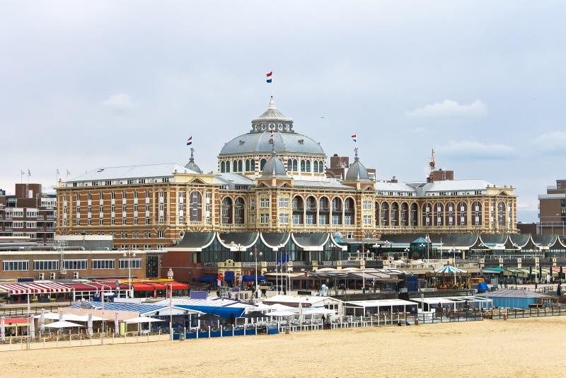 Dutch beach resort with famous Kurhaus hotel . stock photo