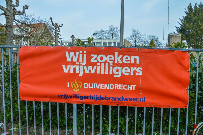 Dutch Billboard Looking For Fireman Volunteers At Duivendrecht The Netherlands 2018 royalty free stock images