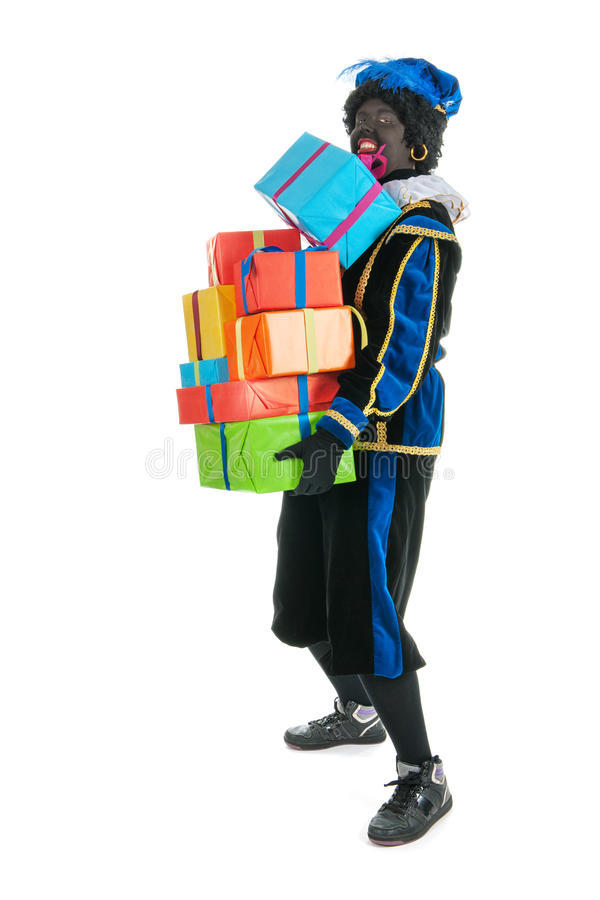 Download Dutch Black Pete With Many Presents Stock Image - Image of expression, feathers: 27284083