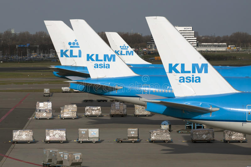 Dutch blue airplanes. Klm boeing aircraft parked at the passenger terminal stock images