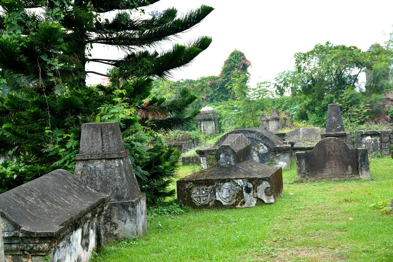 Dutch Cemetery,Fort Kochi. Dutch Cemetery, consecrated in the year 1724, is todaylooked after by the St. Francis CSI Church in Fort Kochi royalty free stock photography