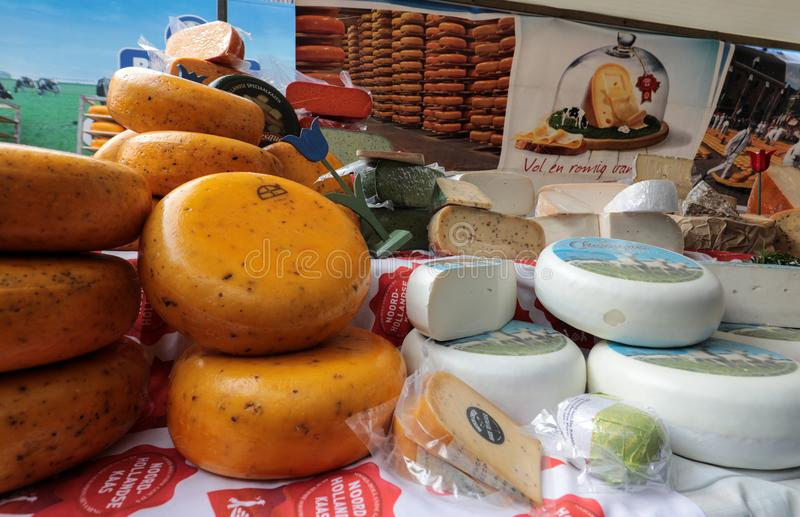 Dutch cheese on a street market in Alkmaar. stock image