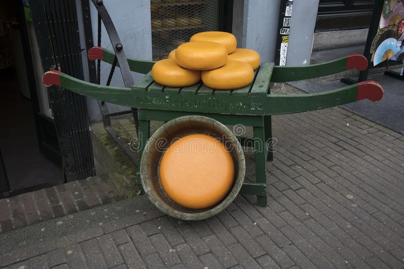 Dutch cheese on a street market in Alkmaar. Netherlands royalty free stock photography