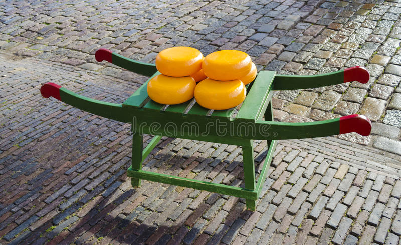 Dutch cheese wheels. On a cart or barrow royalty free stock photography