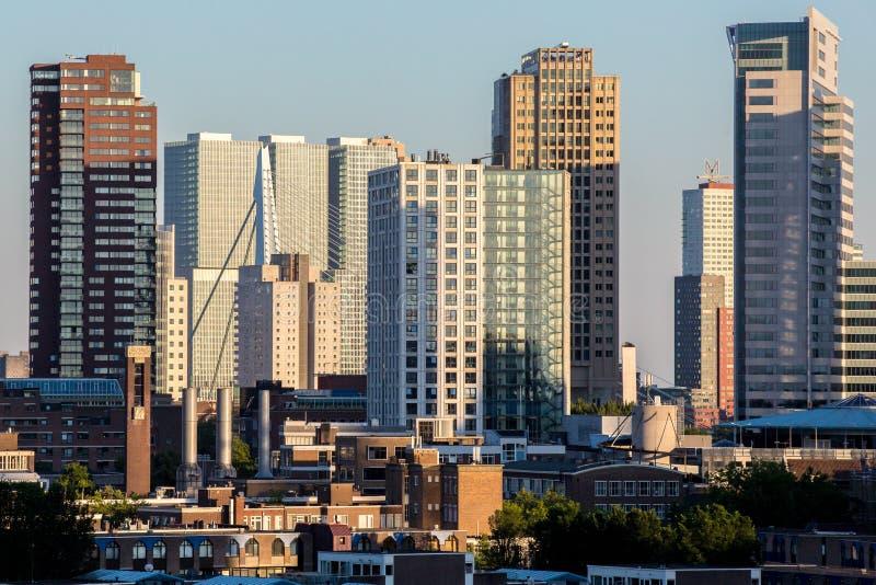 Dutch City Skyline. The modern city skyline of Rotterdam, the Netherlands royalty free stock photos