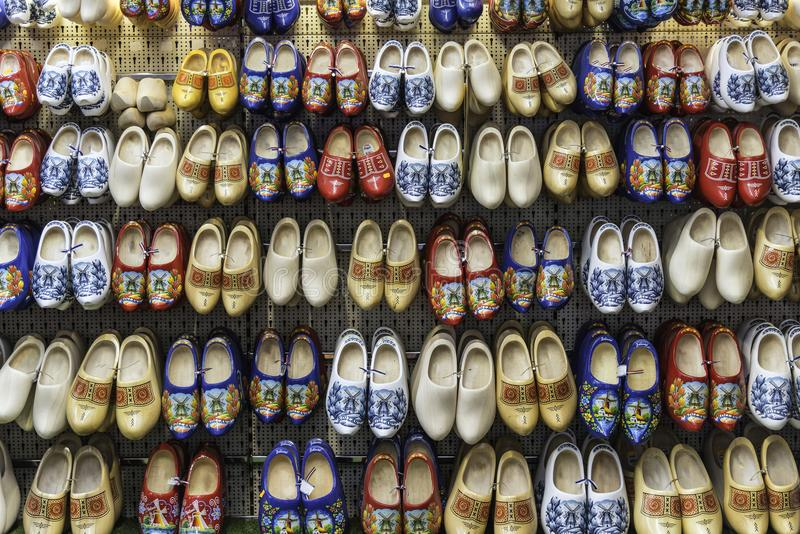 Dutch clogs on sale at Amsterdam shop royalty free stock image