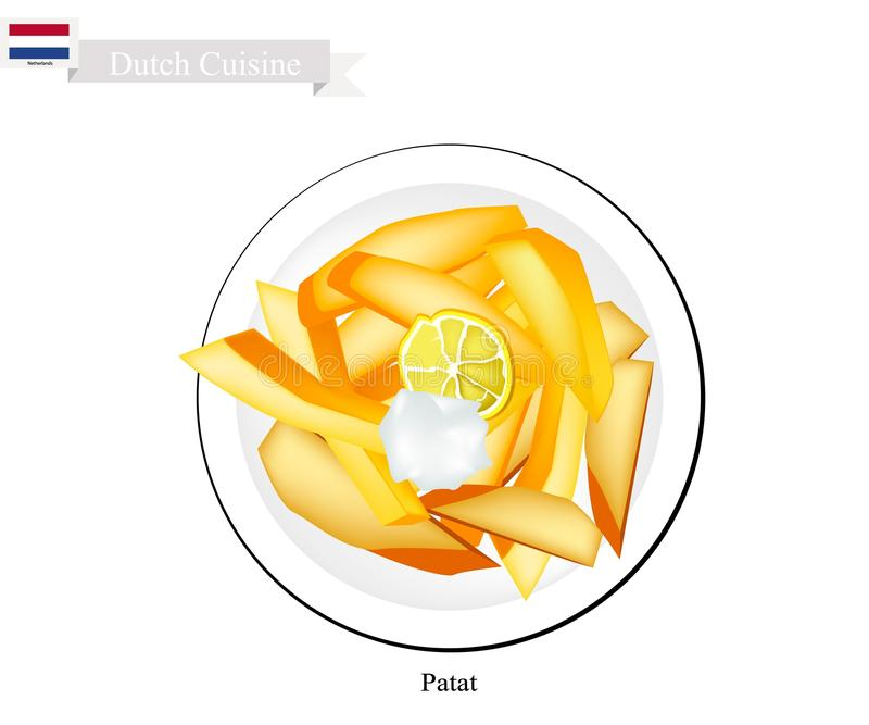 Patat or French Fries, A Popularl Dish of Netherlands stock illustration