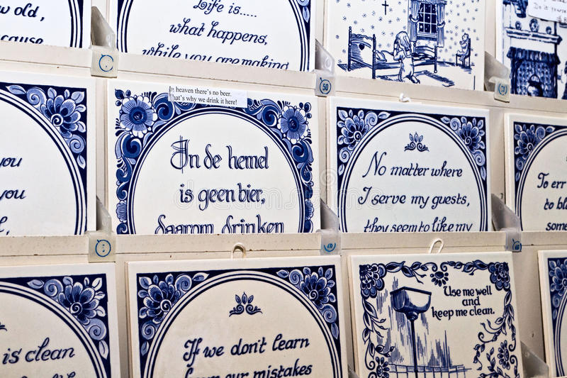 Dutch Delft blue tiles royalty free stock image